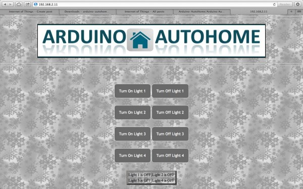 Control Page Open Source Home Automation Project using Arduino UNO + Ethernet Shield