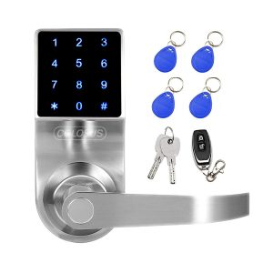 COLOSUS NDL319 Keyless Electronic Digital Smart Door Lock for Home Office Security Touchscreen – 50 User Codes 4 Key Fobs 1 Remote 2 Keys Silver …