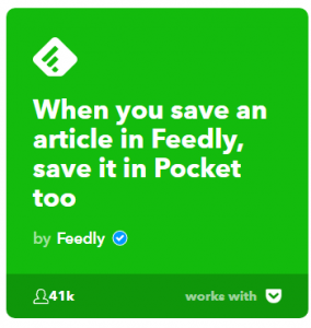 applets saved feedly articles go to pocket