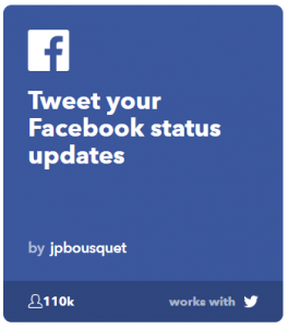 ifttt applets tweet out a fb status